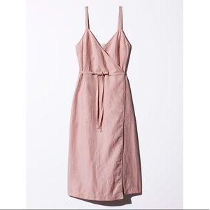WILFRED | AUSTERE Dusty Rose Wrap Tie Dress
